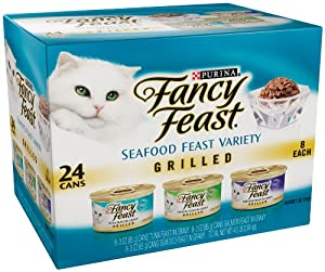 Fancy Feast Gourmet Cat Food, Grilled Seafood Variety Pack, 3-Ounce Cans (Pack of 24)