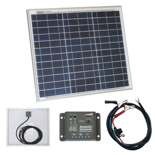 30W 12V Photonic Universe solar panel kit with 5A charge controller and battery cables for a camper Black Friday & Cyber Monday 2014