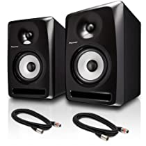 "Pioneer S-DJ60X 6"" Active Reference DJ Speakers, Black Pair w/ XLR Cables - Bundle"