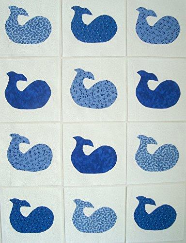 12 Applique Blue Whales Quilt Blocks 6.5 Inch Squares
