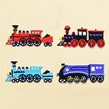 COLORFUL探検 アイロン刺繍ワッペン おしゃれな機関車セット(4個セット) N6640100
