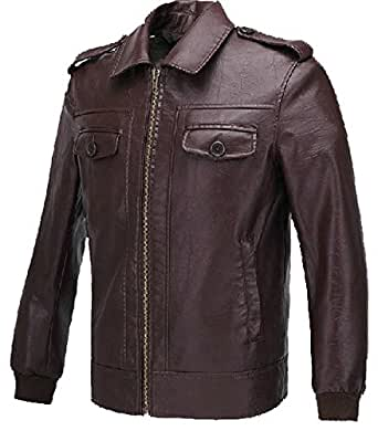 Men's Fashion Jacket PU Leather Coat for Adult Halloween Costume Long Sleeve