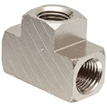 "Polyconn PC101NB-2 Nickel Plated Brass Pipe Fitting, Tee, 1/8"" NPT Female (Pack of 10)"