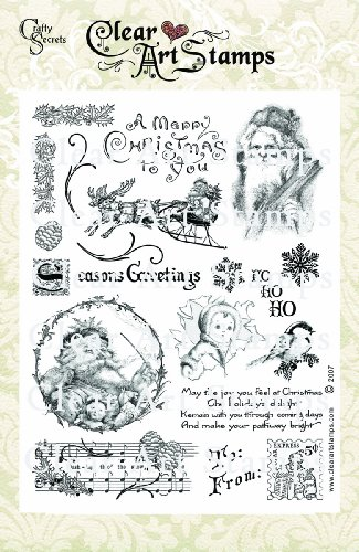 Crafty Secrets Large Art Stamp, Vintage Christmas, Clear