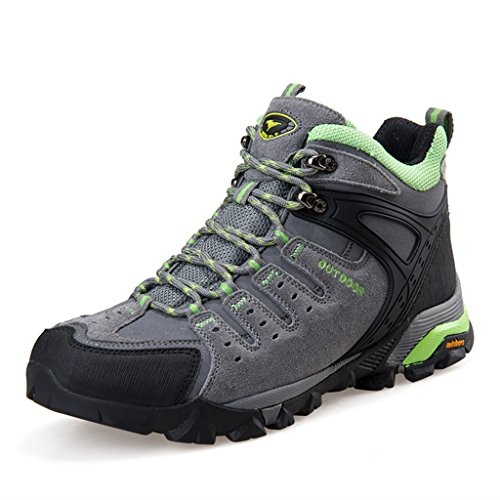 Aleader Men'S Leather Waterproof Fur-Lined Hiking Boots Light Gray 6 D(M) Us