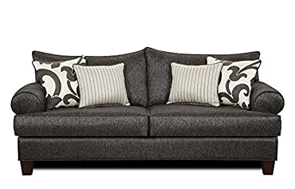 Chelsea Home Furniture Harley Sofa, Stoked Ash with Sweet Pea Onyx/Arbor Onyx Pillows