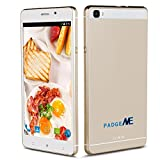 """Padgene New Version Vogue 6"""" Android 5.1 Unlocked Smartphone, 4 Cores, Dual Sim, Dual Camera, 2G / 3G GSM Smartphone ( Case Included ), Gold"""