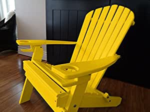 Folding adirondack chair with 2 cup holders amish made usa patio