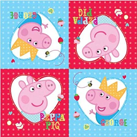 Great range of Peppa Pig partyware for little fans. 16 printed 2 ply napkins. 33cm x 33cm.