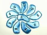 G1 選べる4色 アイアンカバー メタリック 10個 セット 刺繍 PU レザー アイアン クラブ 保護カバー (ブルー)