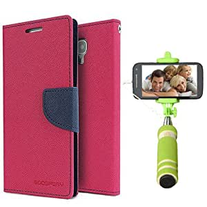 Aart Fancy Diary Card Wallet Flip Case Back Cover For Mircomax Q345 - (Pink) + Mini Aux Wired Fashionable Selfie Stick Compatible for all Mobiles Phones By Aart Store