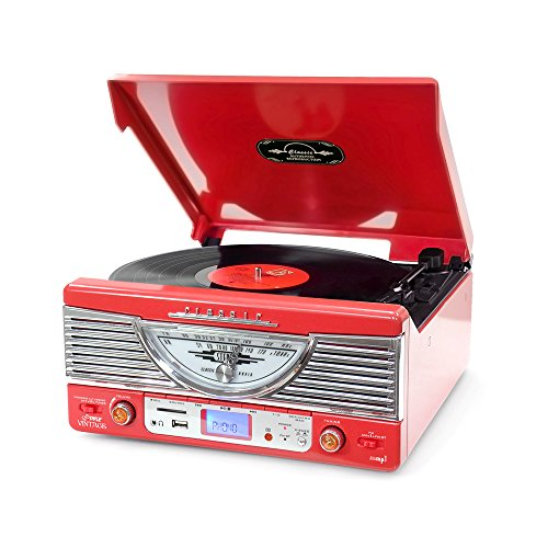 Pyle PTR8UR Retro Turntable with Vinyl-to-MP3 Encoding, USB & SD Memory Card Readers, AM/FM Radio, Aux (3.5mm) Input, MP3 Digital Audio File Playback (Red)