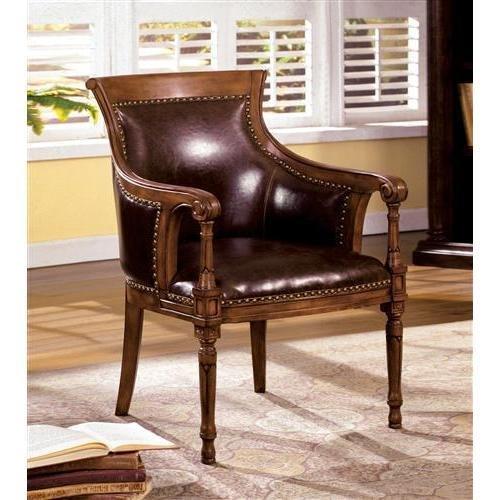Mwave IDF-AC6407 Abelard Accent Chair, Material: Wood, wood veneers, PU leatherette, foam padding, Finish: Distressed Antique Oak