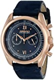 """Orefici Unisex ORM16C4208 """"Vintage"""" Rose Gold Ion-Plated Watch with Dark Blue Suede Band"""