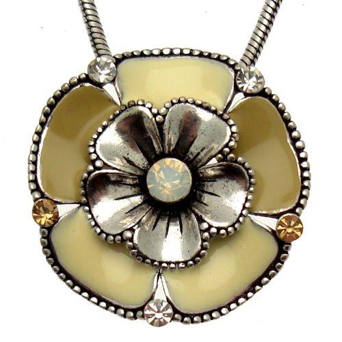 Acosta - Cream & Tan Enamel with Opal Crystal - Flower Necklace - Women's Costume Jewellery Gift