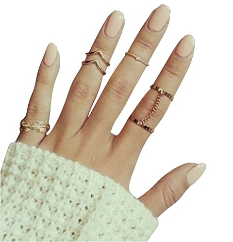 YipGrace Donna Strass Catena Knuckle Anelli Unghie Oro