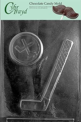 Cybrtrayd S064 Hockey Stick and Puck Chocolate Candy Mold with Exclusive Cybrtrayd Copyrighted Chocolate Molding Instructions