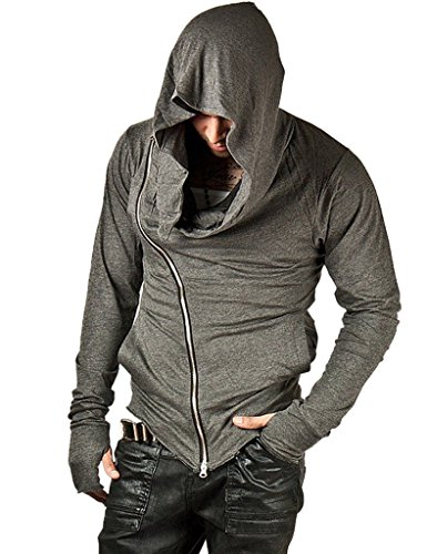 ajetex-men-assassins-creed-slim-fit-outwear-hoodie-pullover-size-m-gray