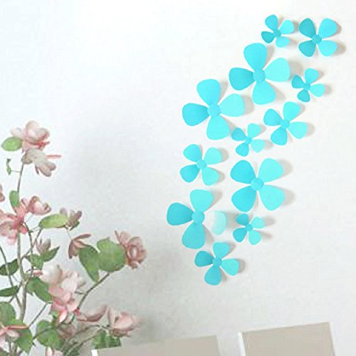 Four Leaf Clover 3D Wall Sticker,Ikevan 1set 12pcs Wall Stickers Decal Four Leaf Clover 3D Acrylic Wall Stickers Fridge Magnets for Home Decoration (Blue) (Amplifier Fridge compare prices)