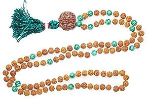 Love Heart Chakra Mala- Green Jade Prayer Beads Rudraksha Yoga Japamala