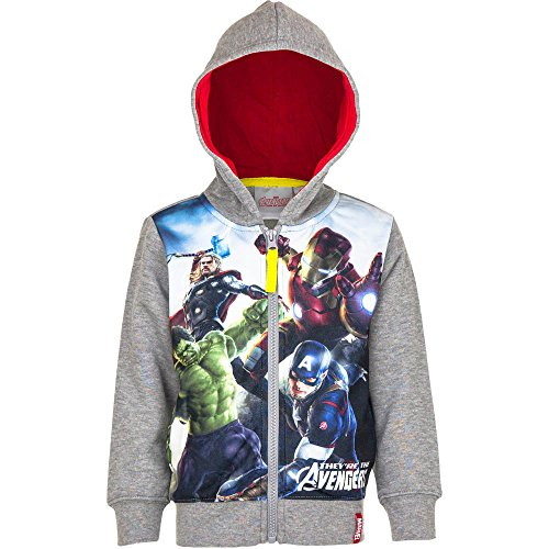 Marvel Avengers - Felpa con Cappuccio e Zip - Captain America Iron Man Hulk Thor - Bambino - Novità Prodotto Originale 7421HP [Grigio - 4 anni - 104 cm]