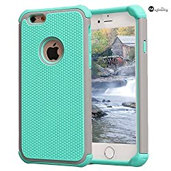 iPhone 6S Case, MagicSky Slim Hybrid Dual Layer Rugged Shock-Absorbing Protective Case Cover (Hard Plastic Outer + Rubber Silicone Inner) for Apple iPhone 6 / iPhone 6S (4.7 inch) - Grey/Turquoise