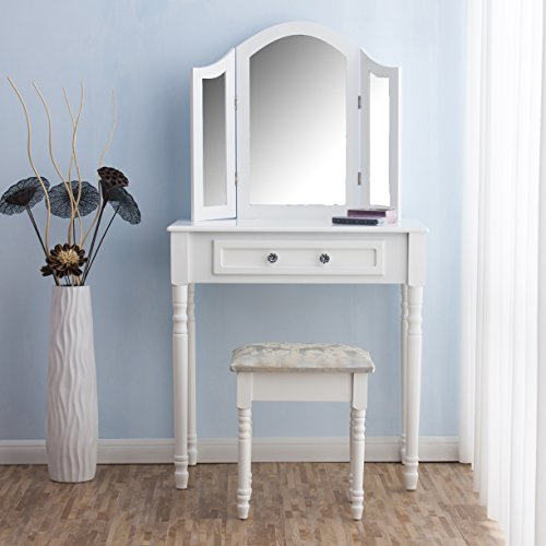 Exceptional CherryTree Furniture Dressing Table 3 Way Mirrors Triple Mirror Makeup  Dresser Set With Stool