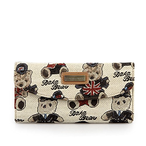 Daka Bear Jazz Bear Beige Zipper Flip Wallet Girl Clutch Bag Cash Purse