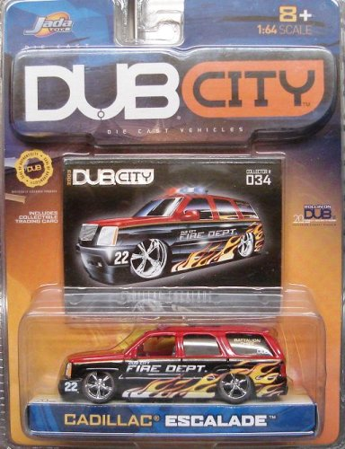 Jada Dub City Red & Black Fire Dept. Cadillac Escalade with Flames 1:64 Scale Die Cast Car - 1