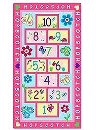 Buenocn Home Nylon Textile Hopscotch Kids Carpet Bedroom Pink Rug Designer Figure Letter Waterproof Children\'s Rugs