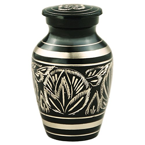 Funeral Keepsake Urn by Meilinxu - Brass Mini Cremation Urn for Human Ashes Adult- Hand Engraved - Fits a Small Amount of Cremated Remains- Display Burial Urn at Home or Office (Majestic Radiance Baby (Mini Urn For Human Ashes compare prices)
