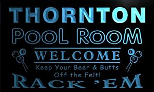 py2263-b Thornton Pool Room Rack 'em Welcome Bar Beer Neon Light Sign