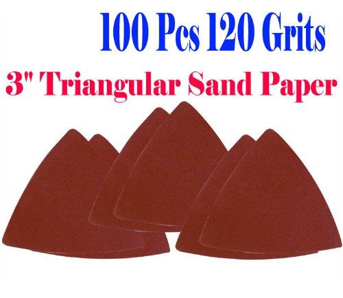 "Pack 100 Sandpaper 120 Grits 3-1/8"" Triangular Sand Paper W/ Velcro Oscillating Multi Tool Saw Blades For Fein Multimaster Bosch Multi-X Craftsman Nextec Dremel Multi-Max Ridgid Dremel Chicago 3"" Rockwell Huperlock Worx Mm20"