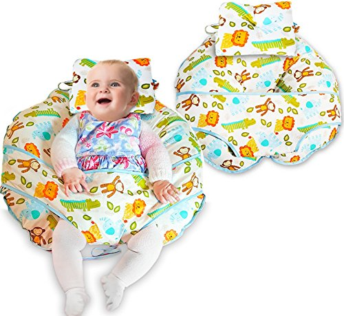 unique-4-in-1-premium-cotton-nursing-pillow-with-free-mini-pillow-and-baby-harness-jungle-fabric