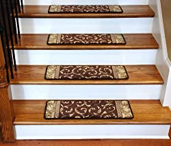 Premium Carpet Stair Treads - Brown Scrollwork
