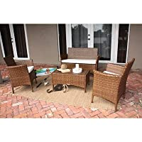 Panama Jack Outdoor 4-Piece St Barths Tee with Cushions Set, Includes 1 Loveseat, 2 Lounge Chairs and 1 Rectangular Coffee Table by Hospitality Rattan - DROP SHIP
