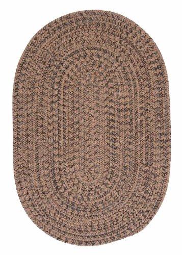 American Made Textured Rug 5-Feet by 8-Feet Oval Mocha Wool Carpet