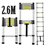 CDC® 2.6M Telescopic Ladder Household Folding Stair Ladder Aluminium Fodable Extendable Extension Steps Ladder - Max. Loading of 150kg