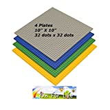 Lego Compatible Brick Building Base 10 X 10 Green, Grey, Orange, And Blue 4 Baseplates In A Set By Brand Fun For...