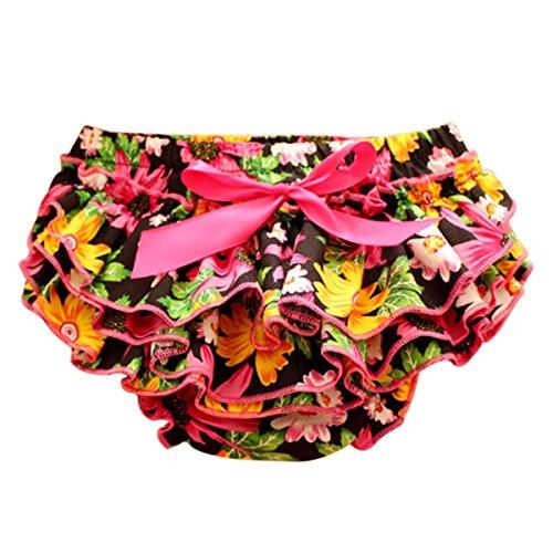 Sasairy neonate del bambino flroal Ruffle Culotte raso Bloomers strati del pannolino della copertura del fiore Shorts Gonne con l'arco 0-24 Mesi-Rosa caldo,S