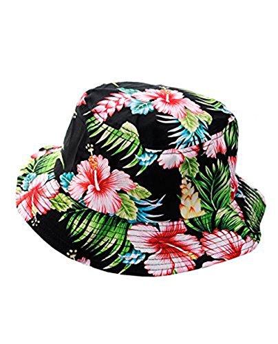 NYfashion101-Fashionable-Unisex-Satin-Lined-Printed-Pattern-Cotton-Bucket-Hat-Black-Floral-Large