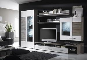 wohnwand weiss hochglanz sonoma eiche dunkel geschroppt k che haushalt. Black Bedroom Furniture Sets. Home Design Ideas
