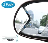 Blind Spot Mirror, KitBest Fan Shape Adjustable Rear View Mirror, Wide Angle Convex Car Mirror Stick On Design for All Cars, SUV, Track and UTV ( Pack of 2 )