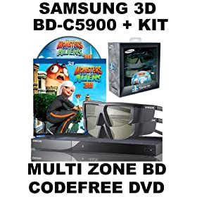 SAMSUNG CODE FREE + 3D STARTER KIT 3D BD-C5900 Blu Ray Player Multi Zone Region Code Free DVD 123456 PAL/NTSC Blu Ray Zone A+B+C Player, DivX AVI MKV, NETFLIX, YOUTUBE ....100~240V 50/60Hz World-Wide Voltage. PAL or MULTI-SYSTEM TV is required to watch PAL DVDs (Free HDMi Cable)