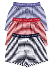 3 Pack Autograph Pure Cotton Striped Boxers