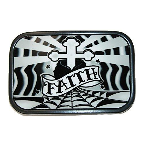 Buckle Down Unisex Metal Cross and Faith Belt Buckle, Silver