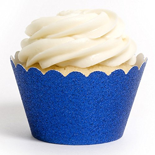 Dress My Cupcake Mini Sky Blue Reusable Glitter Cupcake Wrappers, Set of 18 - Blue Baking Cups, Boy Cupcakes, Boxes, Stands and Towers