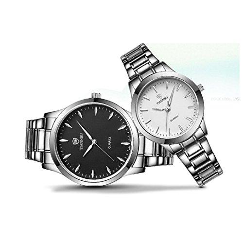 Coppia di orologi, ihee 2pcs Moda luminoso fascia impermeabile in acciaio inox mani coppia Lui e Lei Quarzo Orologio Da Polso