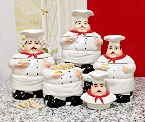 Plump Chef Collection Deluxe Handcrafted 4-Piece Kitchen Canister Set