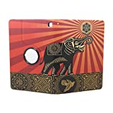 JMM - Elephant and Bird Pattern Obey Flower Design PU Leather Protection Cover Case for Amazon Kindle Fire HD 7, 7 HD Display 2014 Release (NOT Support HDX 7, HD 7 2013 2012 Release) Support Smart Cover Function + 360 Dual View